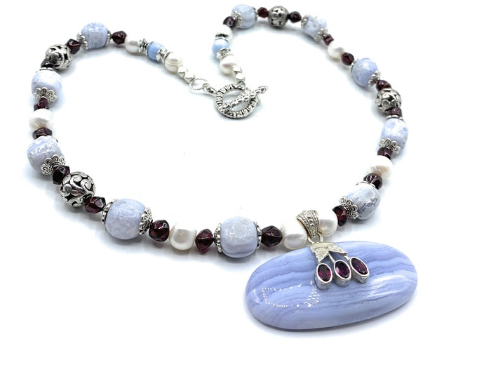 Blue lace agate and garnet pendant beaded necklace, agate and pearl choker, elegant statement necklace, unique women accessory