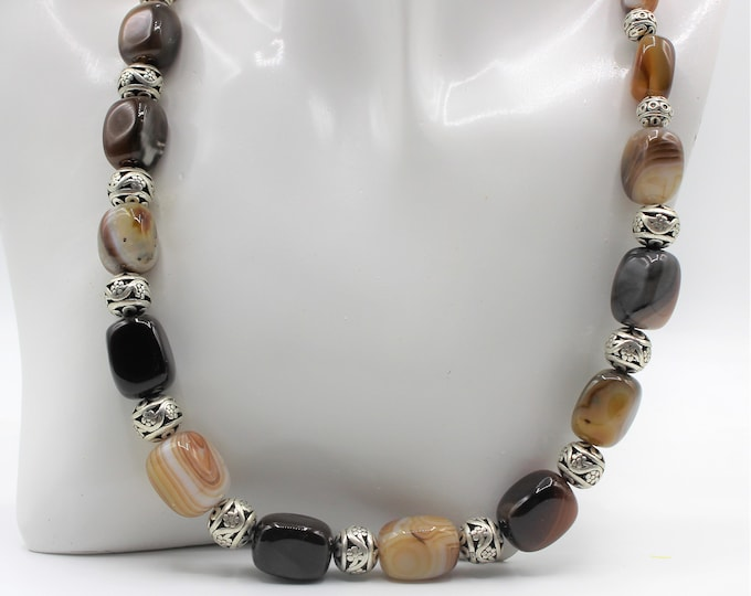 Stripe agate chunky necklace, brown and silver necklace, plus size agate choker, beaded statement necklace
