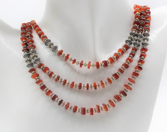 Multi strand beaded carnelian necklace, elegant statement necklace, delicate fall colors accessory, unique colorful gift for her