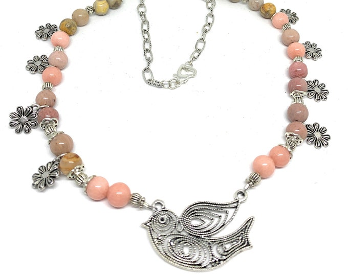 Pink multi stone beaded necklace, bird pendant and flowers necklace, fine statement necklace, unique gift for women, for mom