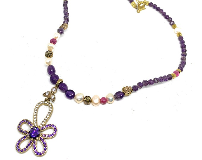 Amethyst and pearl beaded necklace, delicate flower pendant necklace, colorful elegant accessory, unique sweet sixteen gift