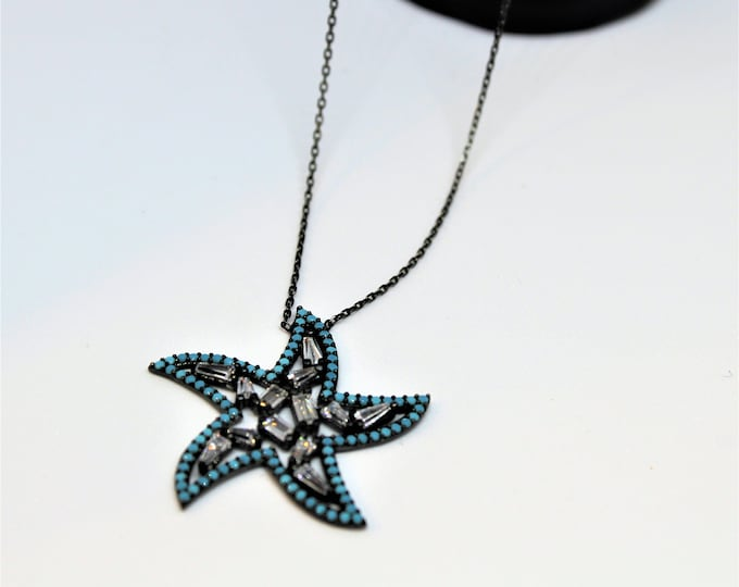 Turquoise charm necklace, star pendant necklace, Sterling silver necklace, minimalist chain necklace, unique gift idea for her