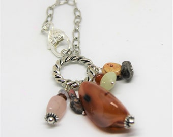 Natural gemstone charm, red carnelian purse dangle, multi stone purse charm, rear view mirror charm, backpack accessory, gift for him or her