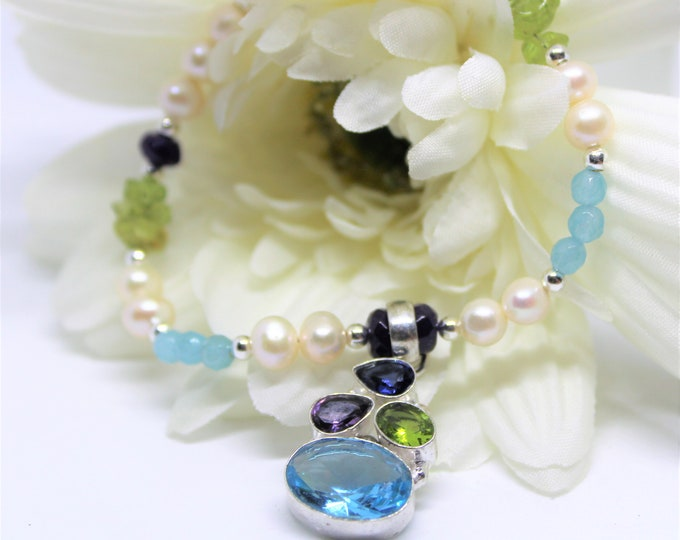 Multi gemstone beaded pendant necklace, colorful natural gemstone and pearl accessory, elegant statement necklace, unique gift for women