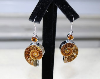 Ammonite fossile drop earrings, SPECIAL OFFER, sterling silver dangle earrings, unique accessory, special gift idea for her