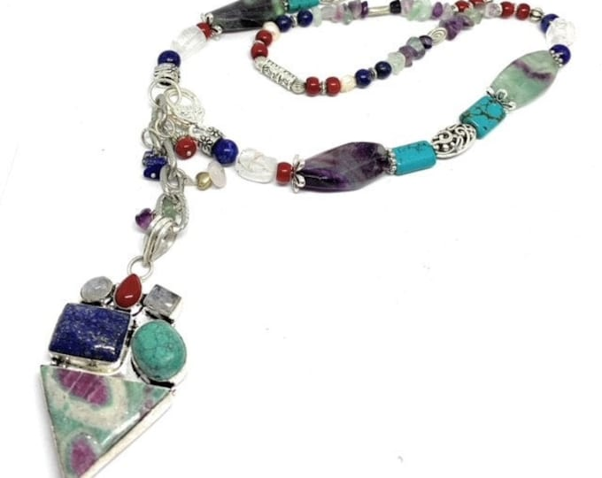 Multi gem beaded Y necklace, colorful pendant in a whimsical multi color strand, elegant statement necklace, unique gift for women
