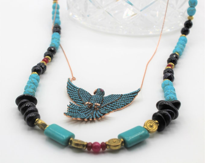 Bird pendant whimsical beaded necklace, ruby turquoise and gemstones statement necklace, multi strand necklace, unique accessory