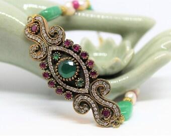 Emerald jewel bracelet, beaded gemstone bracelet, emerald and ruby bracelet, Christmas colors accessory, glamour bracelet, gift for her