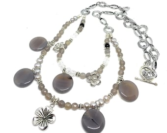 Gray and silver beaded double strand long necklace, multi pendant gray agate and pearl accessory, elegant gift for her
