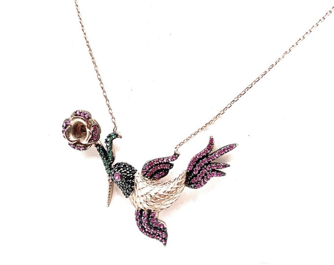 Delicate multi color gemstone bird pendant necklace,unique gift for her, dainty women accessory, elegant bridal accessory