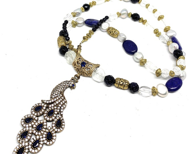 Blue sapphire peacock pendant beaded necklace, gemstone statement necklace, glamorous long necklace, elegant gift for her