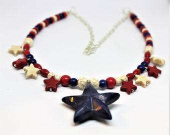 Red, white and blue beaded necklace, star pendant in a turquoise strand, gift for her, patriotic women accessory