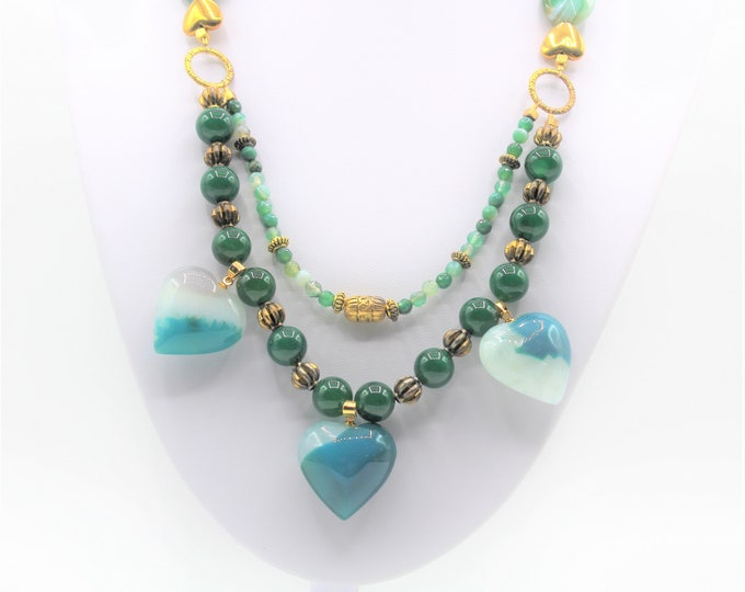 Green hearts pendant beaded necklace, green agate long double strand necklace, unique Valentine's Day gift, statement necklace