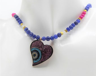 Blue sapphire heart beaded necklace, ruby and turquoise accents necklace, real gemstone heart pendant necklace, Valentine's Day gift