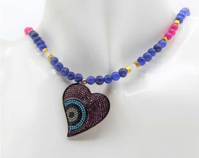 Blue sapphire beaded necklace with real gemstone heart pendant, delicate ruby and sapphire strand, Valentine's Day gift, bridal accessory
