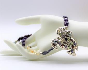 Multi gem silver bird necklace, colorful silver dove pendant necklace, long beaded necklace