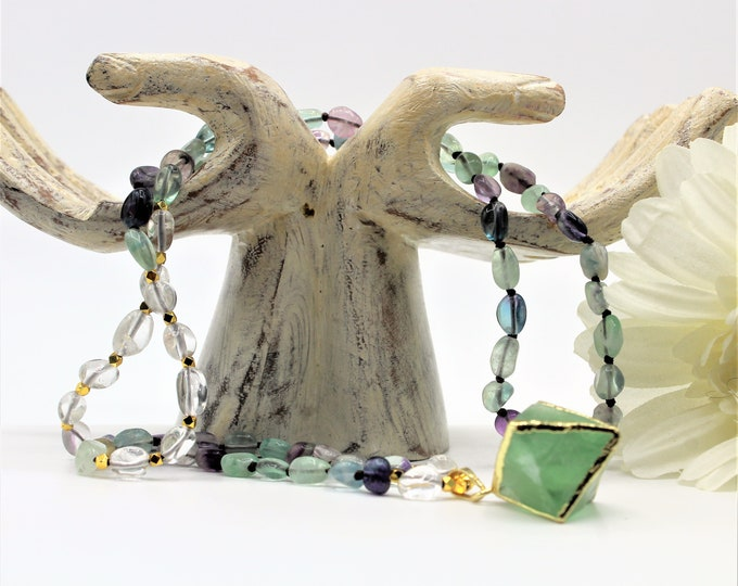 Colorful fluorite beaded pendant necklace, hand knotted gemstone long necklace, layering accessory for all seasons, unique gift for her