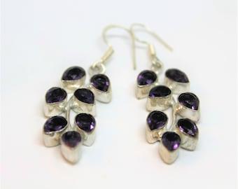 Amethyst drop earrings, sterling silver earrings, purple dangle earrings, leaf motif earrings, gemstone accessory, gift idea