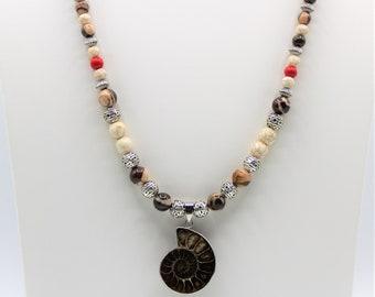 Sea nautilus long beaded necklace, Ammonite fossil colorful necklace, Boho chic beaded necklace