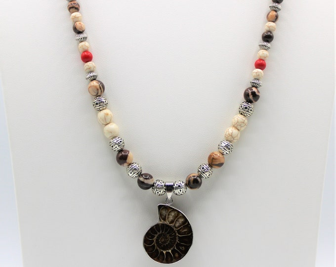 Sea nautilus long beaded necklace, Ammonite fossil colorful necklace, Boho chic beaded necklace
