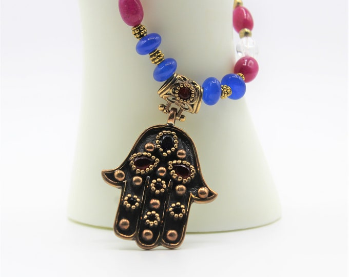 Ruby and sapphire Hamsa pendant necklace, natural gems beaded necklace, unique statement accessory, evil eye protection, gift idea for her