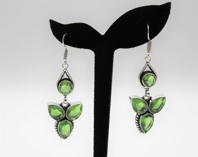 Peridot drop earrings, gemstone dangle earrings, statement earrings, green and silver earrings