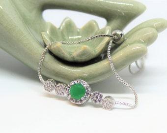Natural emerald bolo bracelet, multi stone bracelet, 925 Sterling silver bracelet, graduation gift, birthday gift