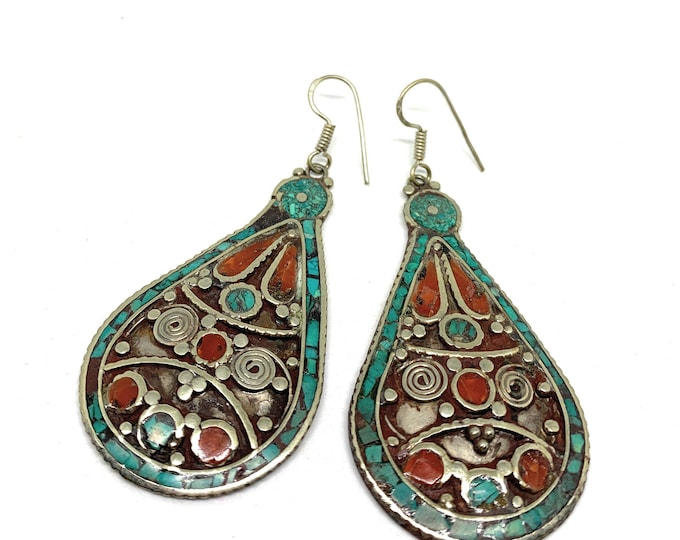 Bohemian tribal dangle earrings, SPECIAL OFFER, turquoise and coral drop earrings, Boho chic earrings, statement accessory, gift for her