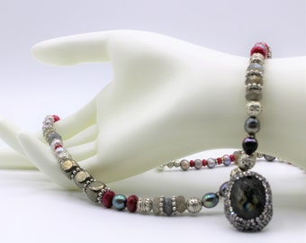 Multi colored gem beaded necklace, elegant strand with labradorite pendant, unique statement necklace, mother of the bride gift