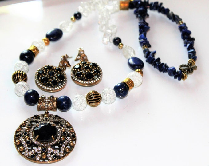 Blue sapphire pendant in a beaded necklace set, Statement necklace and earrings set, Glamour gift for her, Bridal set, Two piece jewel set