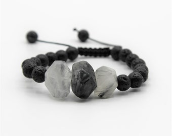 Black gems beaded bracelet, natural gemstone macrame bracelet, elegant every day accessory