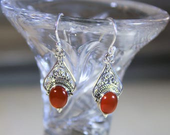 Delicate carnelian drop earrings, SPECIAL OFFER, sterling silver dangle earrings, unique gift idea for her, Mother's Day gift