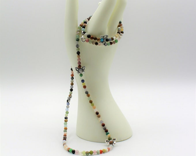 Multi gem beaded necklace, colorful bow motif necklace, layering long strand, everyday elegant accessory, unique gift idea for her
