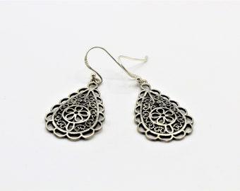 Sterling silver drop earrings, flower dangle earrings, delicate silver accessory, unique gift for women, Mother's Day gift