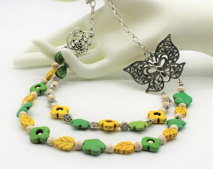 Turquoise beaded necklace, green and yellow necklace,colorful multi strand necklace, flowers and butterfly motif, unique accessory for her