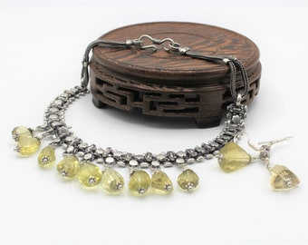 Lemon quartz beaded necklace set, yellow quartz choker set, special event accessory,  elegant statement set,unique wedding gift for her