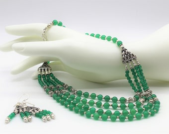 Green onyx multi strand necklace set, beaded necklace and earrings set, elegant statement two piece set, unique wedding gift for women