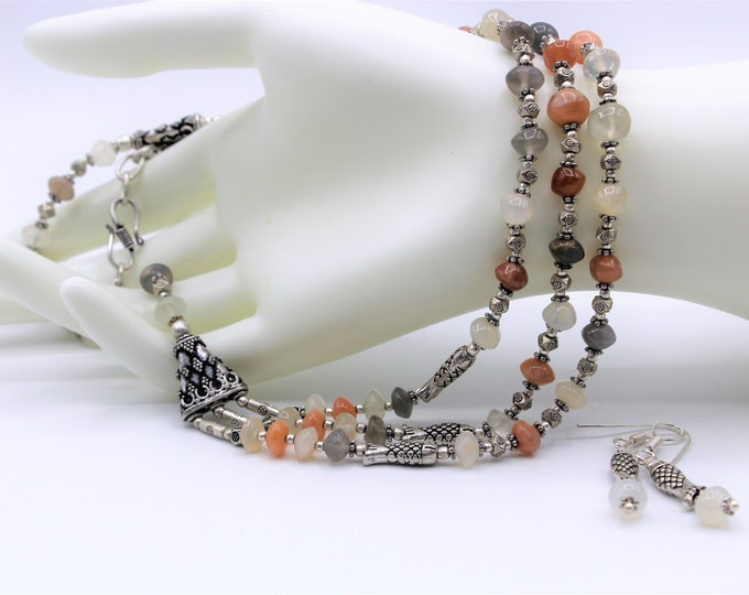 Rainbow moonstone beaded necklace set, multi strand necklace and earrings, fall colors statement necklace, elegant everyday accessory