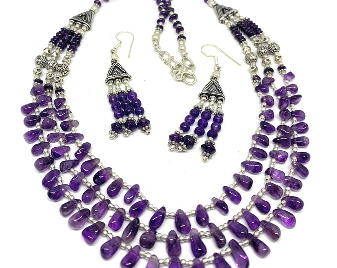 Amethyst multi strand beaded necklace set, purple necklace and earrings set, elegant statement two piece set, unique bridal accessory