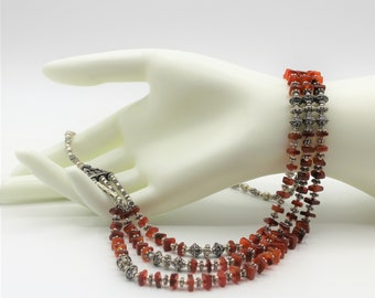Beaded multi strand carnelian necklace, elegant statement necklace, fall colors accessory, delicate beaded necklace, colorful gift for her