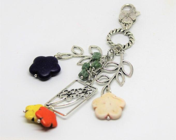 Colorful purse charm, flower motif dangle, multi color zipper pull, long purse accessory, gift idea, backpack fun accessory