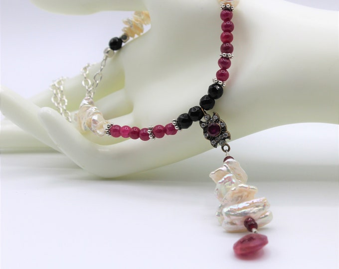 Delicate ruby and pearl Y beaded necklace, natural genuine gemstone unique accessory for women, gift for her