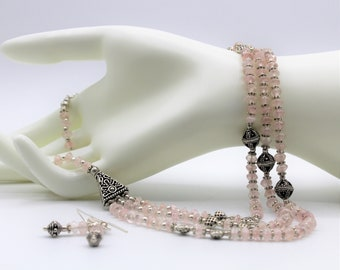 Rose quartz beaded necklace set, pink statement necklace, multi strand elegant necklace,glamour occasion  accessory, unique gift  for women