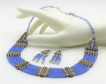 Blue chalcedony beaded necklace set, multi strand necklace and earrings, blue statement necklace set, elegant bridal accessory, gift idea