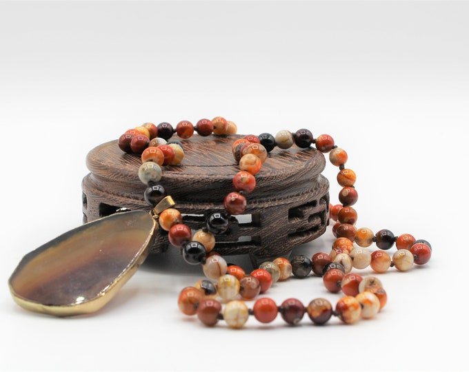 Fall colors beaded pendant necklace, mookaite hand knotted long necklace, layering necklace, agate pendant necklace
