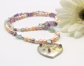 Multi gem heart pendant necklace, pastel colors beaded necklace, Valentine's Day gift, colorful long necklace, mother of pearl pendant