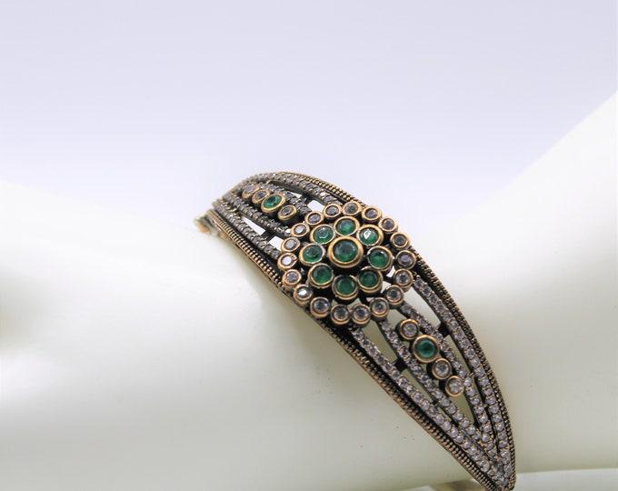 Emerald glamour bangle, Victorian style emerald bracelet, silver and emerald elegant bracelet, gemstone statement bracelet