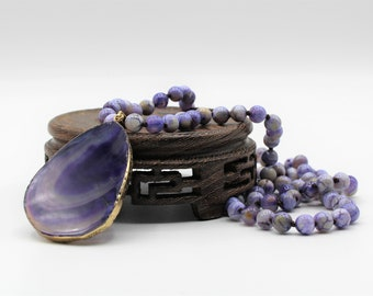 Purple agate pendant beaded necklace, hand knotted gemstone long necklace, unique gift for her, elegant  layering necklace