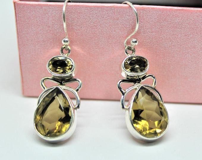 Lemon topaz drop earrings .925 Sterling silver earrings, gemstone dangle earrings, unique accessory for her, everyday accessory