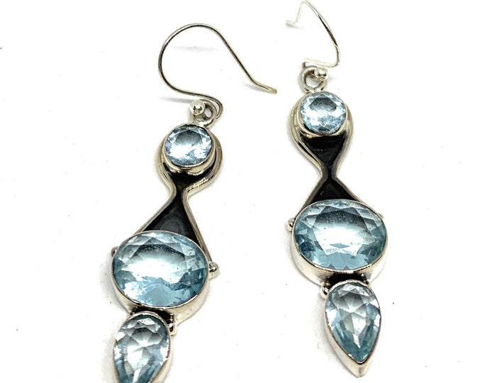 Swiss blue topaz and .925 Sterling silver drop earrings, elegant dangle earrings, statement accessory for her, unique gift for women